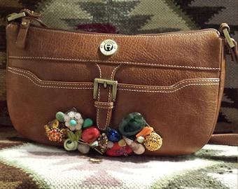 Vintage jeweled leather purse