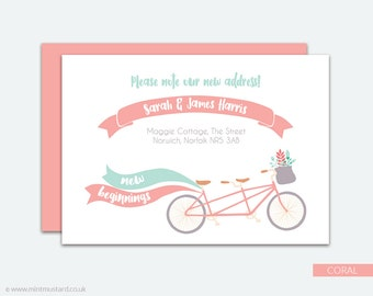 Change of Address Printable Card | Tantem Bike | Moving Announcement | New Address Card | New Home | Housewarming Invitation | A6 Cards