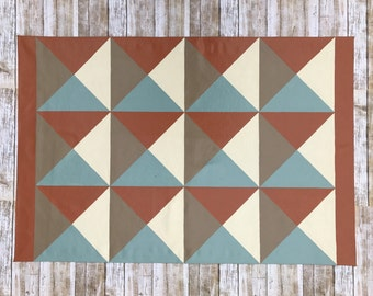Geometric Squares Pattern Floor Cloth, Mid Century Modern Decor,  Painted Canvas Rug