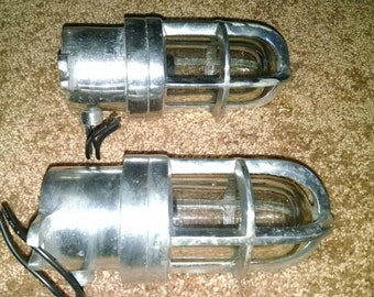 Pair used explosion proof vintage style cabin nautical lights