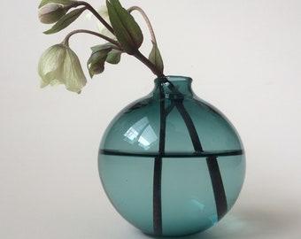 Lake Green Medium bud vase, hand made blown glass