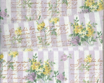"""French Lavender floral 3 """" wide vintage words shabby trim chic hand stamped Muslin c799 . ....oohlala"""