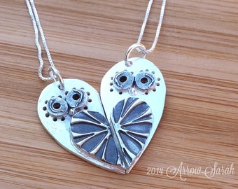 Mother Daughter Jewelry, Mother daughter necklace set, Owl Necklace set, Best friend jewelry, cousins necklace set, friend necklace set,