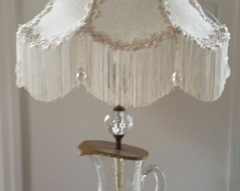 White Brocade Scalloped Lamp Shade with Fringe and Beads