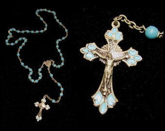 Vintage Silver Plated Catholic Rosary w/ Blue Glass Beads, Rome Italy