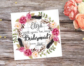 Will You Be My Bridesmaid Proposal Be My Maid of Honor Boho Wedding Invitation Will You be My Flowergirl Puzzle Invitation Personalized Gift