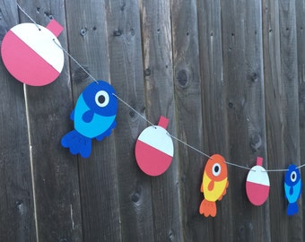 Fish and Bobber Garland Banner - Nautical Party Birthday Decoration - First birthday - Beach party  - Fishing Theme  - The big one