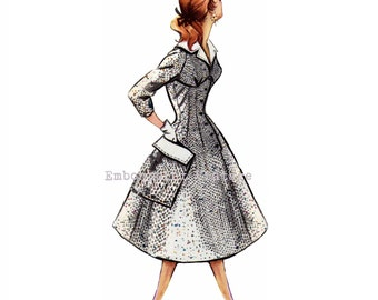 Vintage Sewing Pattern 1956 Swing Dress PDF Plus Size (or any size)  - Pattern No 32 Gertrude 1950s 50s Patterns Instant Download Rockabilly