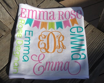 Personalized Baby Blanket with Bunting - Monogrammed Receiving Blanket - Custom Name Blanket with Bunting Flags - Newborn Swaddling Blanket