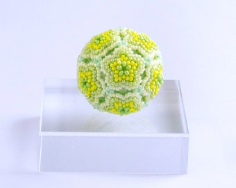 Yellow Green Flower Ball Ornament, beaded ball ornament, home decoration, sprout, free shipping, 11ob