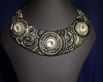"Made to order - Bead embroidery collar necklace ""Мoon"", Bead embroidery necklace, Beaded Necklace"