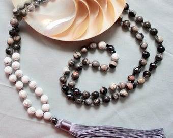 Silver-leaf Howlite Knotted Gemstone Mala Necklace 108 Medition Beads Yoga Necklace
