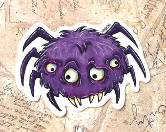 Spooky Spider, Halloween Sticker - Vinyl Sticker of original illustration