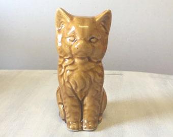 Orange cat china figurine, mid century cat figurine, ceramic cat figure, porcelain cat statue, ginger cat figurine, china animal figurine