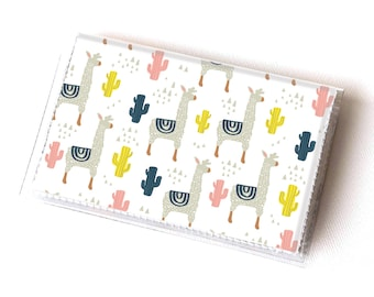 Vinyl Card Holder - Alpaca / llama, cactus, succulents, happy, colorful, card case, vinyl wallet, women's wallet, small, pretty, handmade