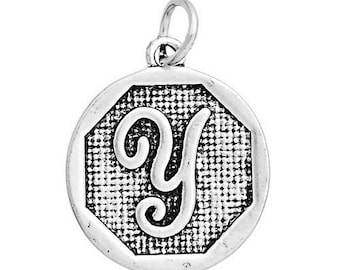 "1 or 4 pcs. Antique Silver LARGE Letter ""Y"" Alphabet Letter Charm Pendant -  23mm x 20mm - Stamped Design"