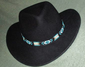 "Custom made! Southwestern Style! ""One Eye Turquoise "" with Porcupine Quills & Glass Beads.  Handcrafted for Western Style Hats"