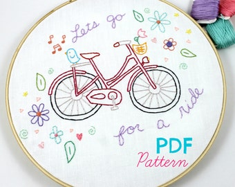 Hand Embroidery Pattern. Bicycle Ride. Cycling. Bike Lover. Embroidery Design. Embroidery Hoop Art. Summertime. Travel. Vintage Bikes.
