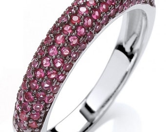 GAIA 925 Sterling Silver Women Ring With Pink Cubic Zirconia Diamond Stones