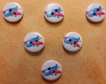 SET of 6 wood buttons: Circle pattern 15mm (03) plane transportation theme
