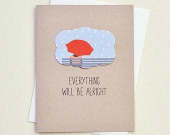 Thinking of You card - Red Umbrella Sympathy Card - Get Well Card - Encouragement Card for friend  (EV-07)