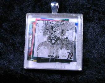 Revolver Beatles Album Cover UK Fab Four Revolutionary John Paul George Ringo Vintage Postage Stamp Pendant or Key Ring