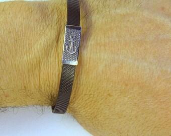 Men's bracelet in silver 925 and rubber, bracelets, silver, sterling silver, mens bracelets, jewels, jewelry, bangle