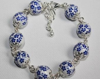 Porcelain Bracelet / Blue Bracelet / Blue Flowers Bracelet