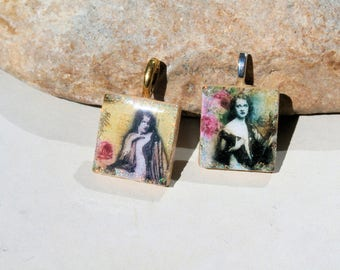 2 pendants for necklace, scrabble mix media, retro portrait