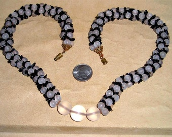 Vintage Frosted Glass Necklace Choker With Little Black Onyx Stones 1940's Jewelry 2299
