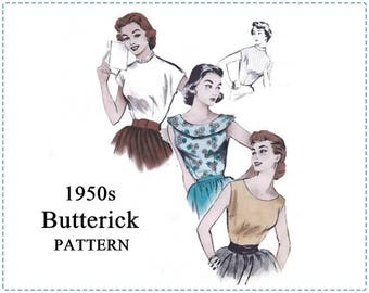 1950s Blouse Sewing Pattern - Butterick 6886 - Misses Blouse, Turtleneck, Jewel Neckline, Scoop - Size 16 Bust 34 - 1950s Sewing Patterns