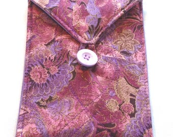 Handmade quilted bag for tarot cards oracle cards runes crystals floral pink lavender plum