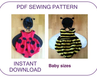 Ladybug or Bumble Bee costume pattern. Birthday fun. Baby Halloween costume pattern Computer drafted PDF sewing pattern Baby Toddler costume