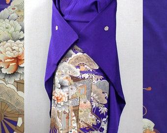 Second hand kimono, Japanese vintage formal kimono, iro-tomesode, silk, purple, peony, Goshoguruma