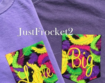Comfort Colors Shirt with Mardi Gras Feather Embroidered Pocket - Your Choice of Shirt Size and Color. Font Style and Thread Color