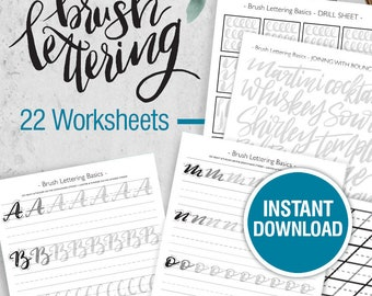 Brush Lettering Worksheets, Lettering practice, Learn calligraphy, Hand lettering guide, Modern calligraphy, tutorial, brush script
