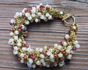 Bangle Bracelet Gold, White, Bone, Brick Beads Knitted Bracelet Gift for Her Gift for Mom by hipknitta