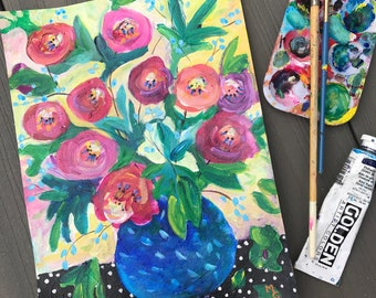 Poppies in Blue Vase, Colorful Still Life, Original Painting