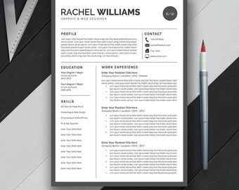 Professional Resume Template, CV Template, Cover Letter, Modern Creative Simple Teacher Resume, Word, Mac & PC, Instant Download, Rachel