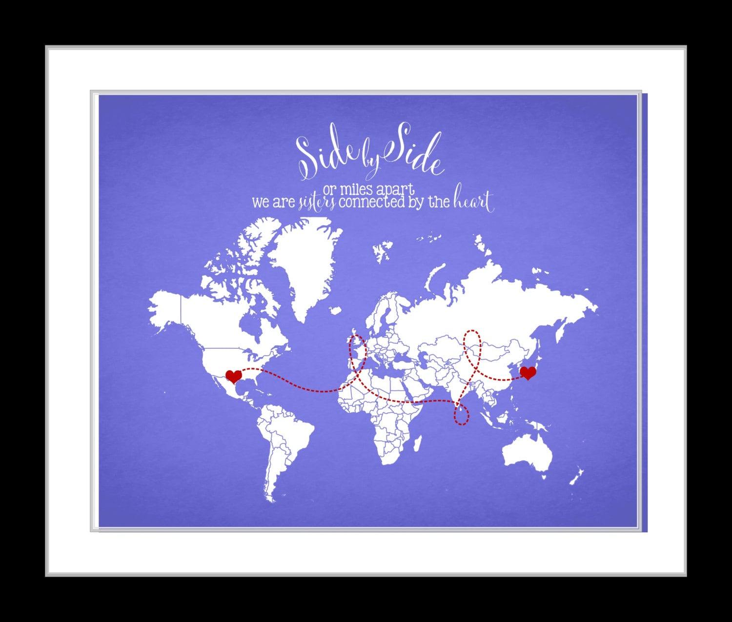 Side by side sisters connected by heart world map gift for zoom gumiabroncs Choice Image