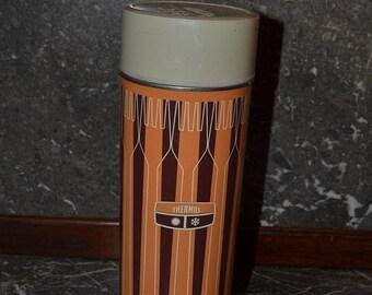 Moving Sale Thermos, Metal Thermos, Tall Thermos, Orange Thermos