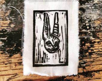 Patch of mummified rabbit - patches - fabric - cotton - handmade - print - linocut - linocut
