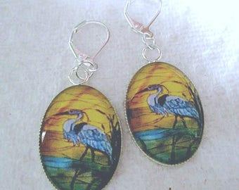 Blue Heron Oval Glass Earrings