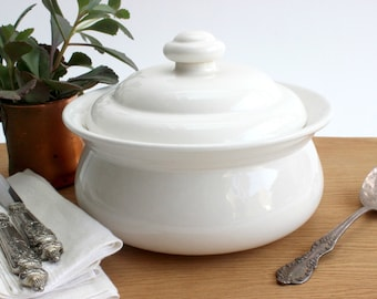White Casserole Dish, Vintage Ceramic Cookware