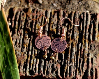 Sweet and Petite - dainty and delicate etched copper and glass dangle earrings