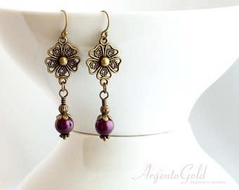 Tudor Earrings, Swarovski Pearls, Edwardian Earrings, Purple Pearl Earrings, Downton Abbey, Tudor Jewellery, Handmade UK, Gifts For Her