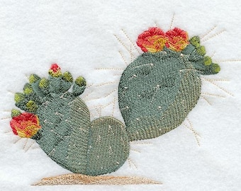 Prickly Pear Cactus  Embroidered Flour Sack Hand/Dish Towel