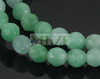 """HIZE GAZ04 Natural Green Amazonite Faceted Round Ball Beads 6mm (15 1/4"""")"""