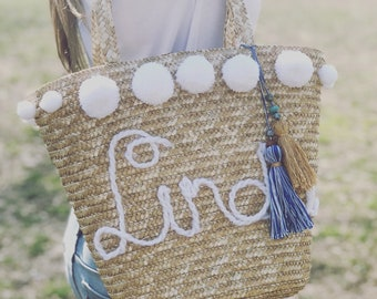 Personalized Women Straw bag with Pom poms Beach bag Beach straw bag, Shoulder bag, Handbag, Summer bag, Beach accessory, Handbag,Women Bag