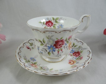 "Vintage Royal Albert English Bone China  ""Jubilee Rose"" Teacup and Saucer set - Delightful English Teacup"